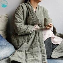 LinenAll женщин домой халат парки, осень/зима белье/хлопок хлопок утолщение-мягкий ночная рубашка верхняя одежда для дам wuyou