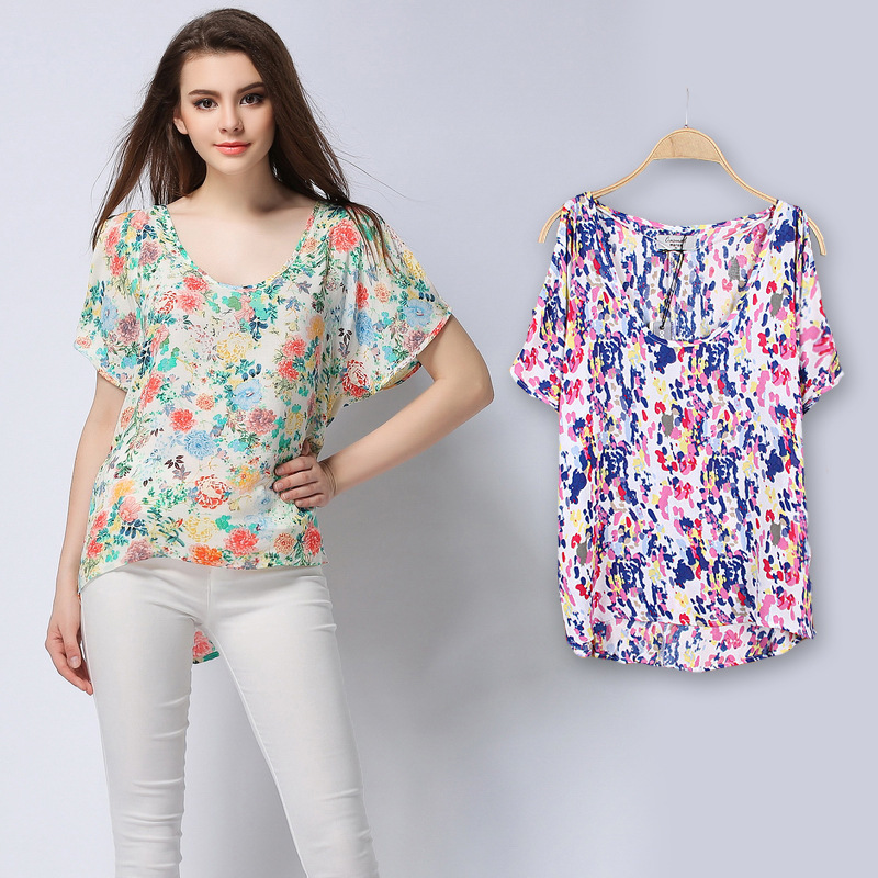 Aliexpress.com : Buy 2015 Summer Print Chiffon Blouse Shirt Women ...
