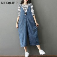 Mferlier Mori Girl Autumn Loose Casual Denim Overalls Pocket Ankle Length Wide Leg High Waist Jeans