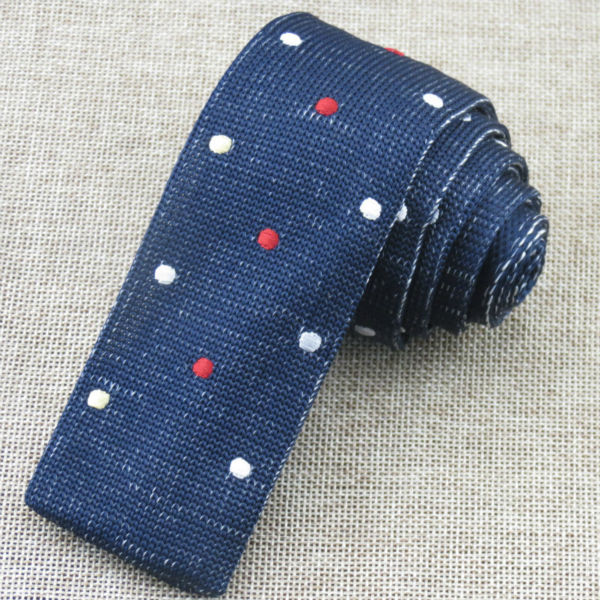 Navy Knitting tie/red and white Embroidered dot pattern/new style mens fashion Flat head necktie