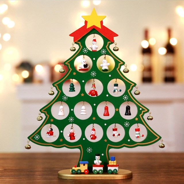 Small Wooden Christmas Tree Table Decorations Festival Desk Ornaments Party  Gift - Small Wooden Christmas Tree Table Decorations Festival Desk