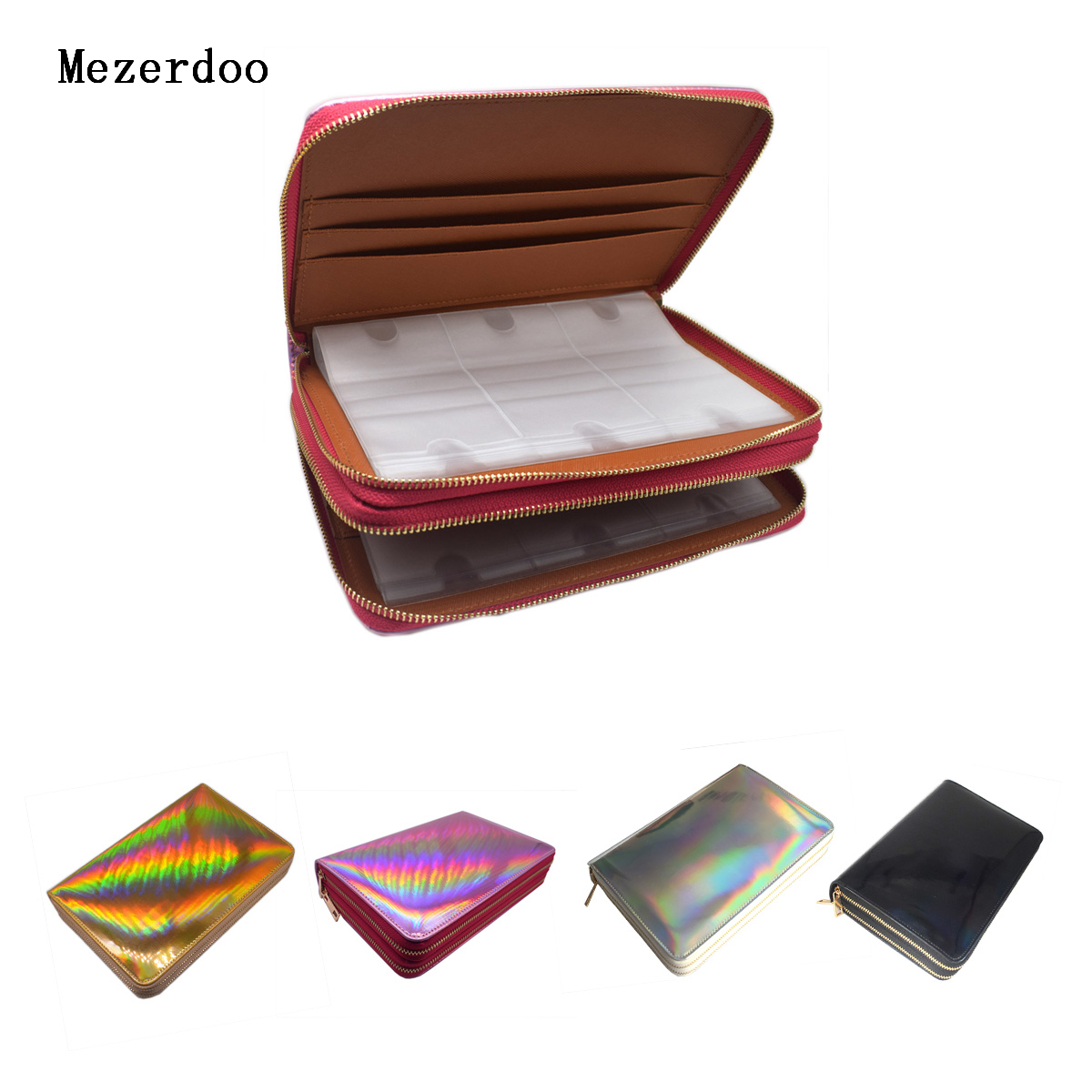 96 Slots Nail Stamping Plate Holder Case Rainbow Laser Style Rectangular Manicure Nail Art Plate Organizer with Double Zippers 10pcs nail art stamping printing skull style stainless steel stamp for diy manicure template stencils jh461 10pcs