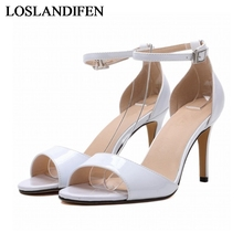 Big Size 2018 Thin High Heels Fashion Open Toe Ankle Strap Ladies Sexy Sandals Women Red Wedding Party Shoes NLK-A0038 цена и фото
