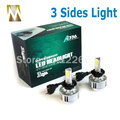 3 Sides Car Headlamps H7 LED Headlights Bulbs 36W 12V Cars COB Chips Head Lamps 6000k 3000k White Amber H8 H11 9006 Xenon Light