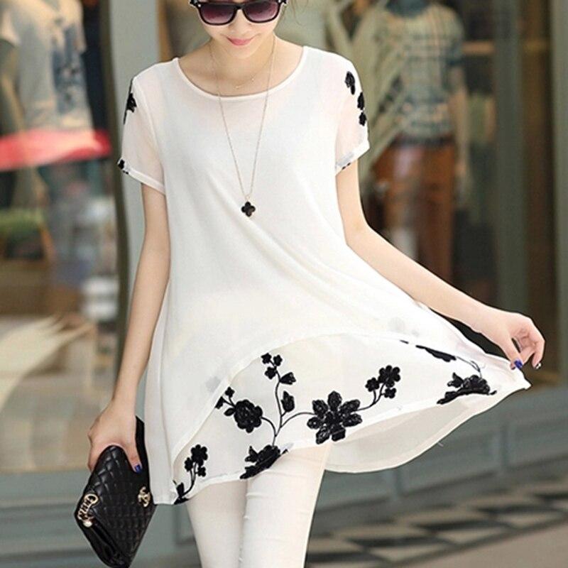 Летняя рубашка женская блузка свободного покроя размера плюс 4XL с О-образным вырезом и цветочной вышивкой из 2 предметов женские блузы шифон...