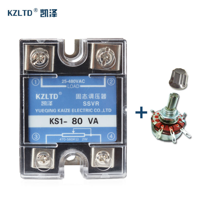 SSR-80VA Adjustable High Voltage Regulator Solid State Relays 25~480VAC Single Phase mini rele 220V 12V 80A + 1 PC Potentiometer