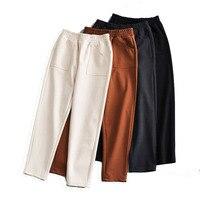 2019 Wool Winter Autumn Harem Pants Women Casual Elastic Solid High Waist trousers Loose Female Slim Ladies Straight Pants
