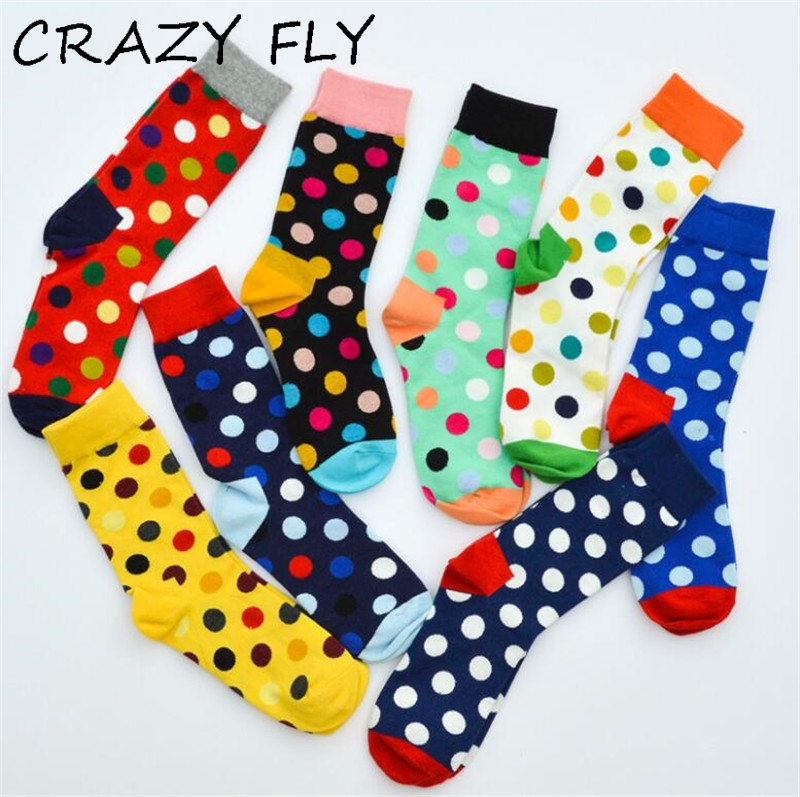 CRAZY FLY 2019 Fashion Colorful Dot Cotton Man Happy Socks Personality Tide Brand Harajuku Casual Funny Socks Women Couple Meias