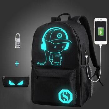 f013c00456a4 Анти-Вор школьная сумка ночник детский школьный рюкзак Wich пенал аниме  светящиеся школьные сумки для мальчика Девочки школьный ранец
