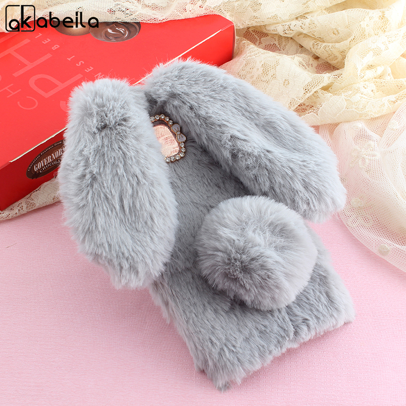 Galleria fotografica AKABEILA Fluffy Rabbit Fur Cases For Samsung Galaxy J5 2017 J530F J530 J5 Pro EU Eurasian Version Cover Girl Soft Back