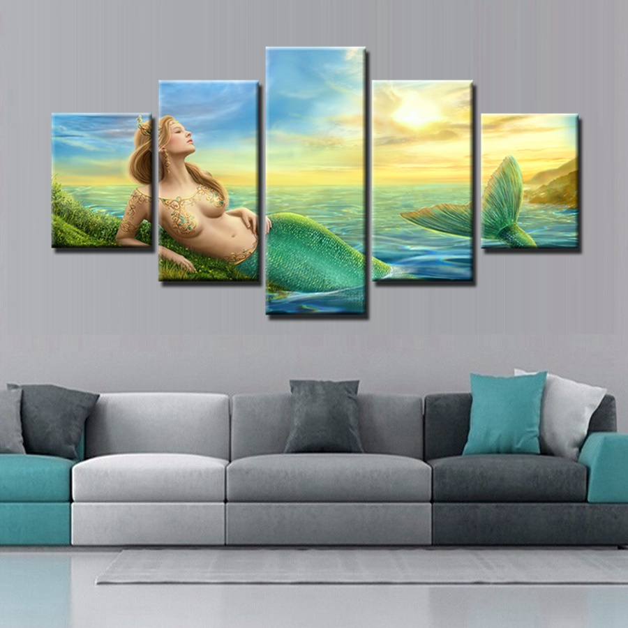 Princess fantasy mermaid tail canvas wall art print painting sunset ocean wall artwork for home decoration 5pcs beautiful gift in painting calligraphy