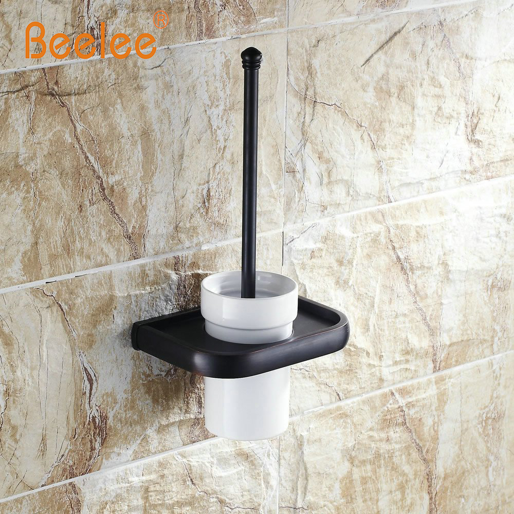 Beelee BA7404B OiL Rubbed Bronze Finish Wall Mounted Solid Brass Toilet Brush Holder Set bathroom accessories oil rubbed bronze square toilet paper holder wall mounted paper basket holder