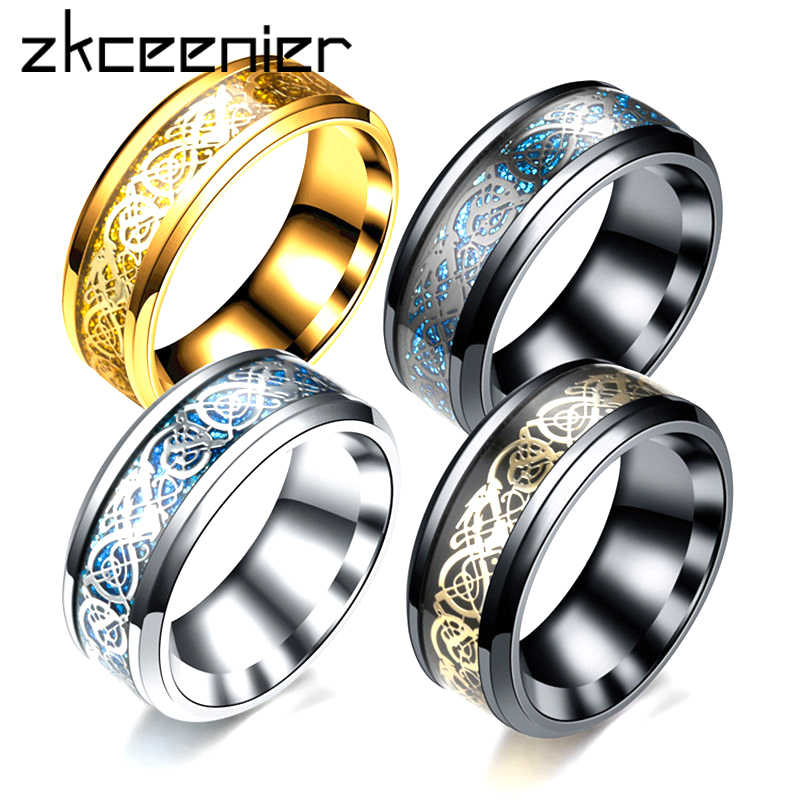 New Stainless Steel Dragon Rings Black Silver Blue Color Lovers Ring for Men Women Fashion Jewelry Wholesale Free Shipping