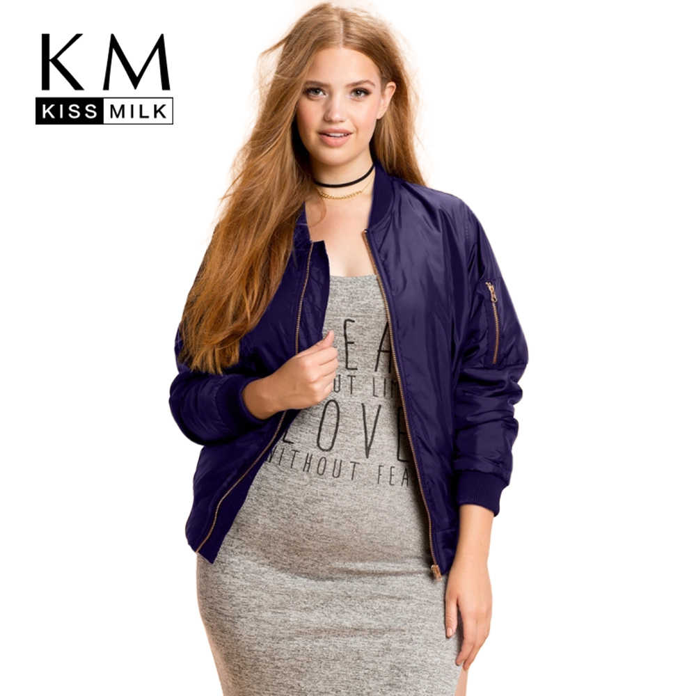 cde93380ac8 Kissmilk Plus Size New Fashion Women Clothing Casual Solid Zipper Jacket  Coat Long Sleeve Big Size