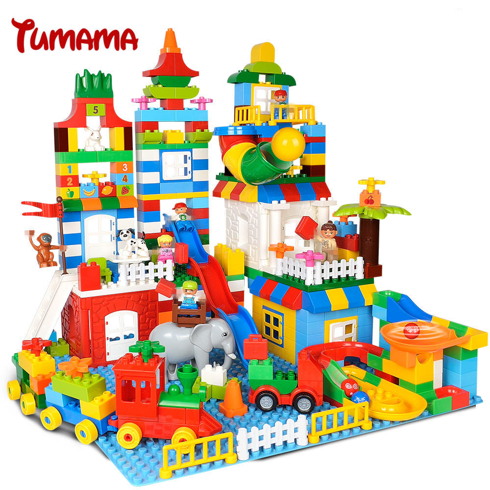 Tumama 225PCS Big Size Building Blocks Number Train Bricks Kids Gift Compatible with Legoed Duplo Educational Toys For Children