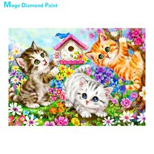Lovely cat Moge Diamond Painting Full Round animal cartoon Children New DIY Sticking Drill Cross Embroidery 5D Home Decoration