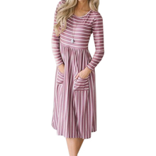 024d6629f032 White Female Floral Printed Dresses Autumn Sexy Long Sleeve Lady Femme Midi  Red Dresses Pockets Striped