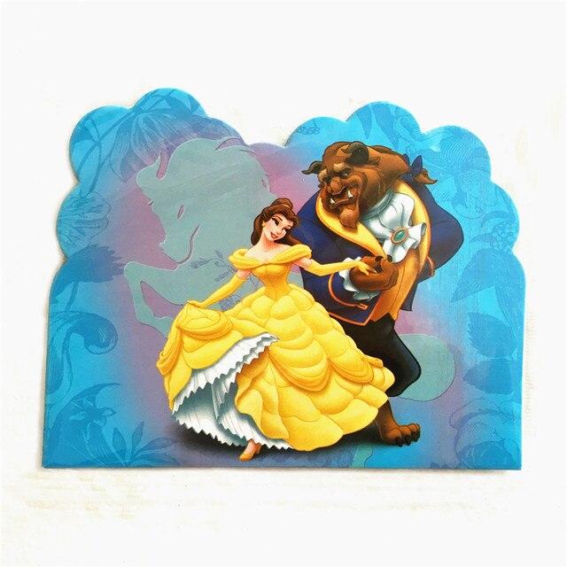 10pcs Lot Invitation Card Beauty And The Beast Princess Bell Kids