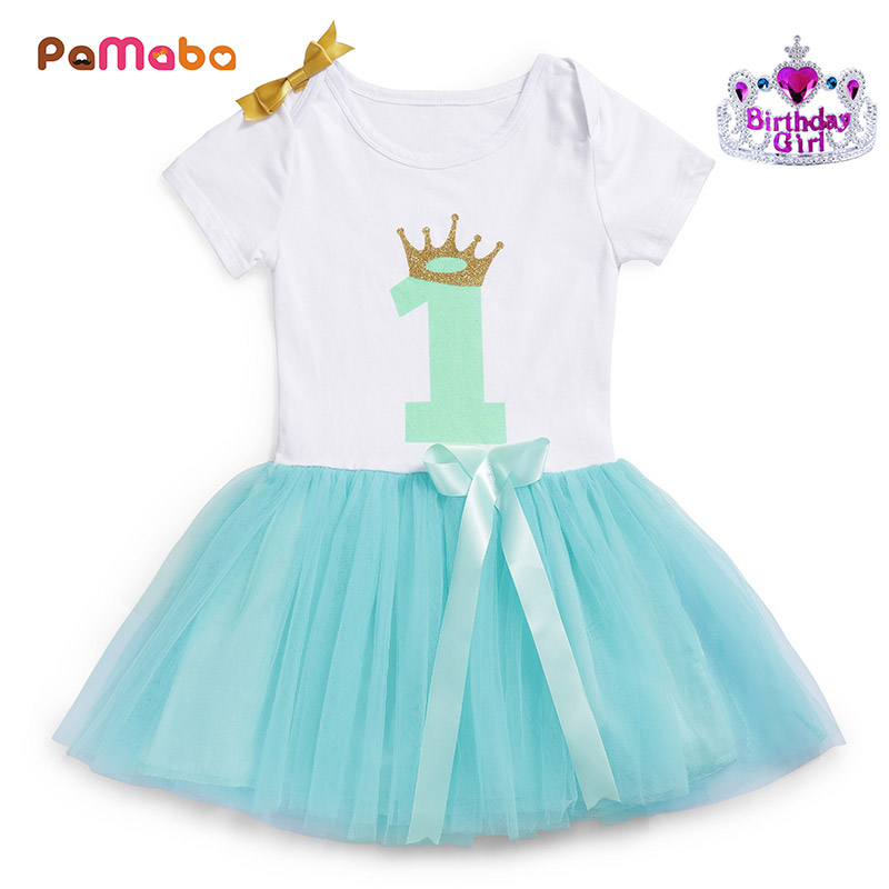 PaMaBa One Two Year Old Baby Girls Tutu Dress Bebe Clothes Infant Birthday Party Supplies Cake Smash Outfit Kids Robe with Crown