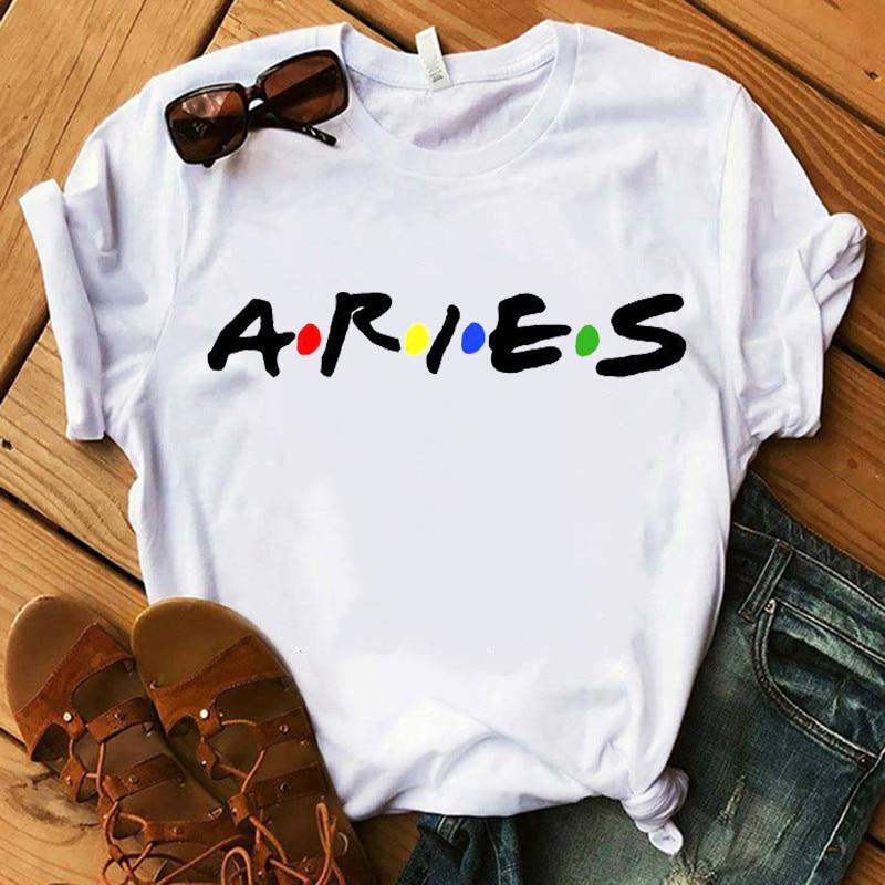 Douze constellations du zodiaque signe Tshirt Femmes Manches Courtes o-cou t-shirt doux Respirant décontracté tshirt femme esthétique vêtements