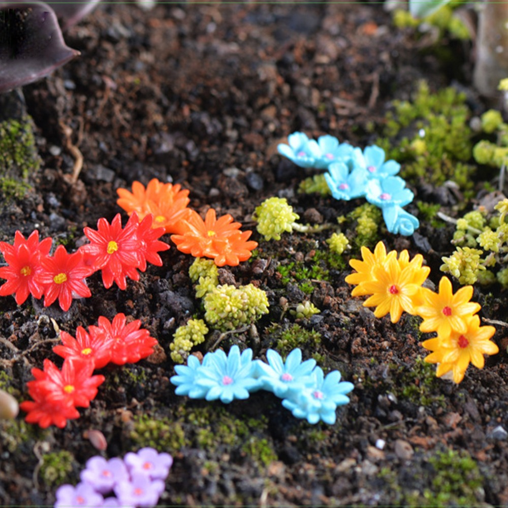 10Pcs Miniature Moss Flower Bonsai Crafts Fairy Garden Micro Landscape Decor DIY