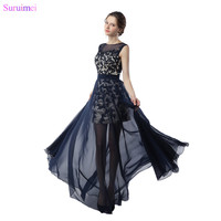 428372d0f7 Two Pieces Semi Formal Girls Prom Gown Cap Sleeves High Neck Lace Applique  Key Hole Navy