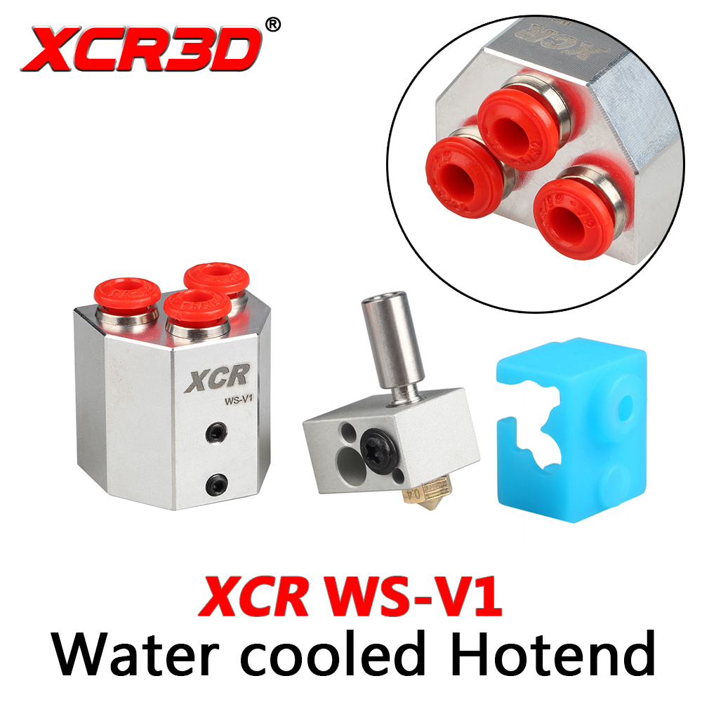 XCR3D Printer Accessories XCR WS-V1 Water-cooled Single Color Hotend With Silicone Socks Kit Extruder Parts 1.75/0.4mm Nozzle