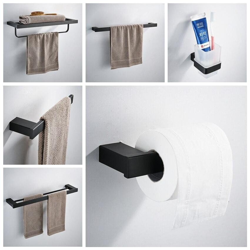 Matte Black SUS 304 Stainless Steel Bathroom Hardware Set Robe Hook Shampoo rack Towel Ring Towel Shelf Bathroom Accessories