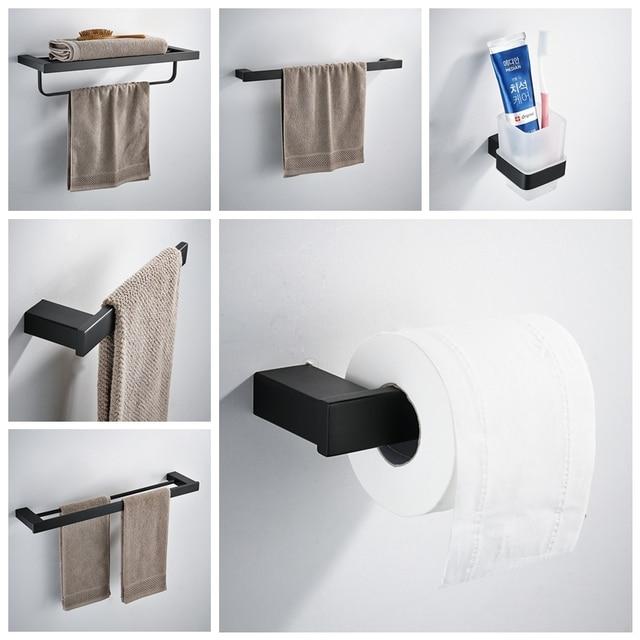 Matte Black Sus 304 Stainless Steel Bathroom Hardware Set Robe Hook Shampoo Rack Towel Ring Shelf Accessories