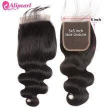 Perruque Lace Closure brésilienne naturelle-AliPearl Hair, cheveux Remy Swiss Lace, lisse, 5x5, partie libre, blond 613