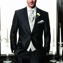 Черные смокинги Жениха Лучший мужской костюм свадебные костюмы жениха(куртка+ брюки+ галстук+ жилет