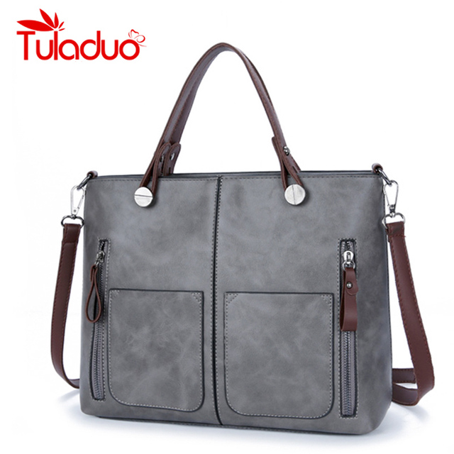 785e2f5439 TuLaduo Brand Vintage Lady Handbag Women Designer Shoulder Bags PU Leather  Double Pocket Zipper Bags Casual Tote Bags Sac a Main