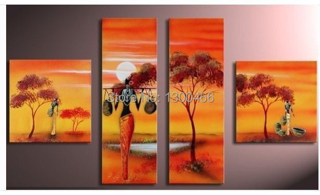 Hand Painted 4 Canvas Paintings African Art Home Decor Canvas Oil Painting For Sale