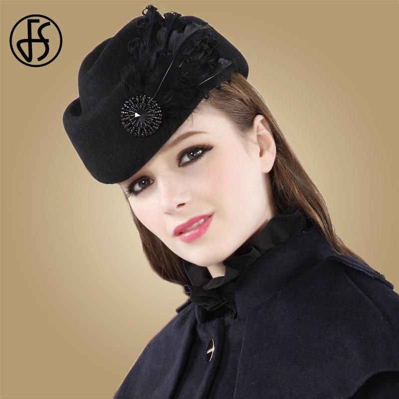 FS French Winter Women Fedora Hat Wool Ladies Black Beret Hats Fascinators For Wedding Pillbox Elegant