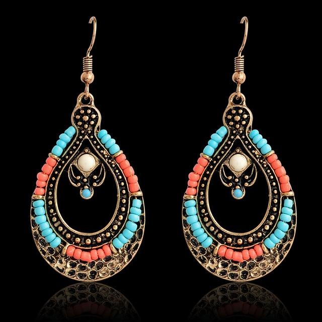 Drop earring pink blue beaded bronze chandelier dangle earrings ear drop earring pink blue beaded bronze chandelier dangle earrings ear jewelry earrings for women fashion jewelry aloadofball Image collections