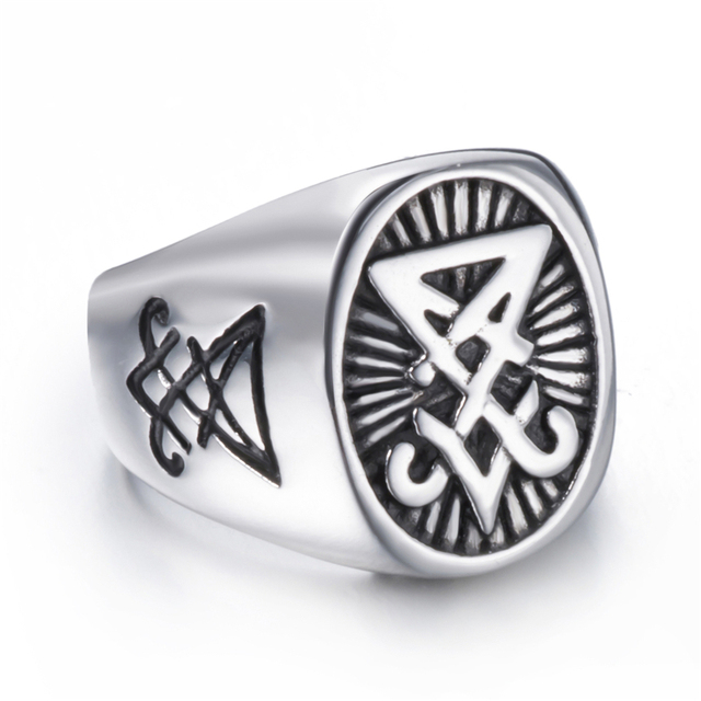 Mens Stainless Steel Ring with Satan Symbol 2