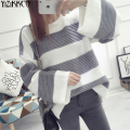 Women Sweater 2016 Winter New Fashion Striped Pullovers Knitted Sweaters O-Neck Pull Femme Comfort Soft Wool SZQ019