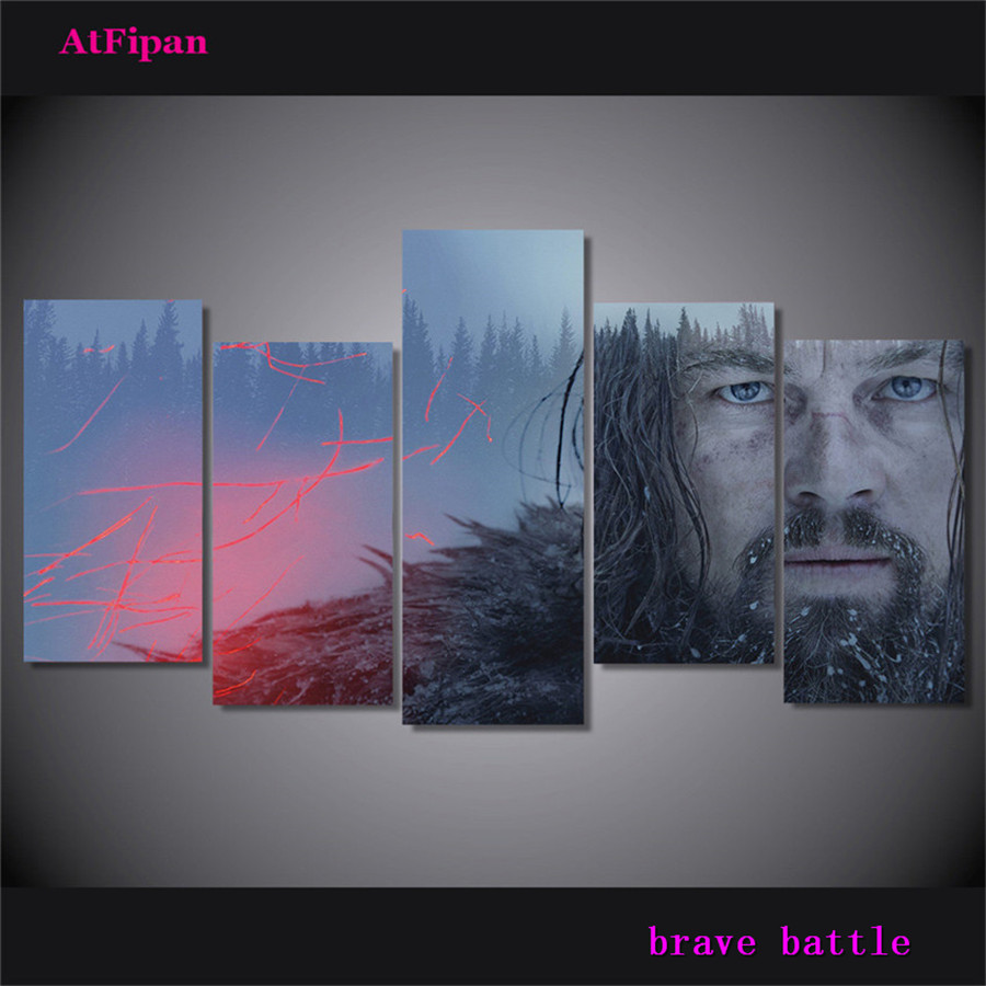 The Revenant, <font><b>Leonardo</b></font> <font><b>DiCaprio</b></font> Canvas <font><b>Painting</b></font> Living Room Home Decor Modern Mural Art Oil <font><b>Painting</b></font> image