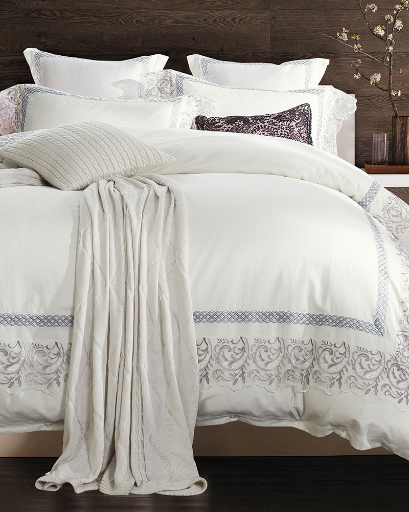 Silver Embroidery Lace White Bedding Set King Queen Size