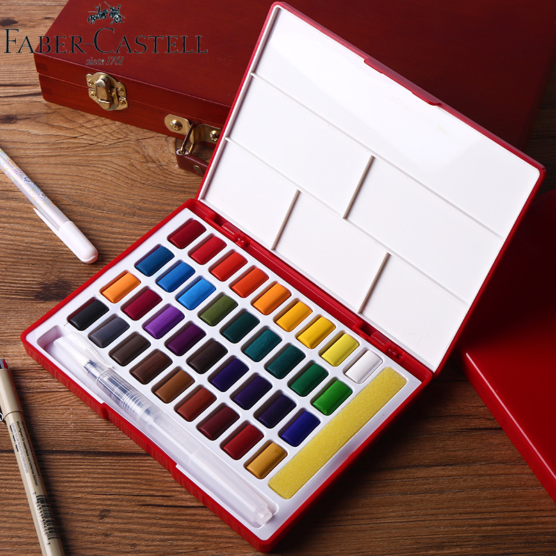 Faber-Castell 24/36/48Colors Solid Watercolor Paint Professional Box With Paintbrush Portable Pigment For Painting Art Supplies купить