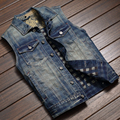Summer Casual Mens Slim Fitted Hooded Denim Vest , Sleeveless Jeans Coat For Man , Male Spring Fall Vintage Vests With A Hood
