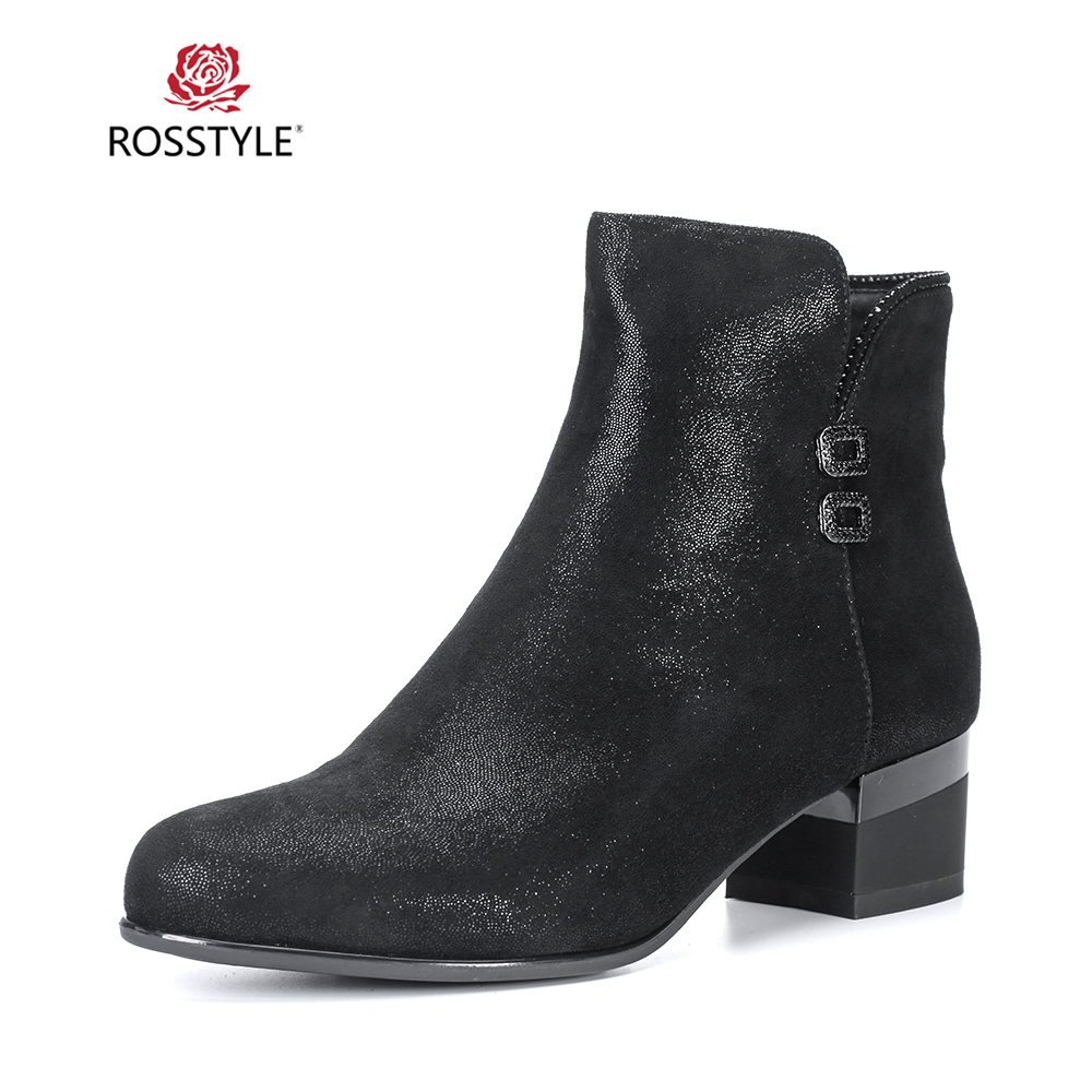 ROSSTYLE Fashion Woman Winter Ankle Boot Vintage Genuine Leather Zip Round Toe Warm Shoes Soft Square Heel Buckle Lady Boots B88ROSSTYLE Fashion Woman Winter Ankle Boot Vintage Genuine Leather Zip Round Toe Warm Shoes Soft Square Heel Buckle Lady Boots B88