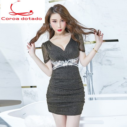 Women's sexy temperament slimming slimming waist revealing dress 2019 spring new style bar bottom skirt