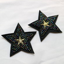 2pc/set black star beaded patches for clothing sequin stars Rhinestone appliques beads parche DIY handmade clothes accessories