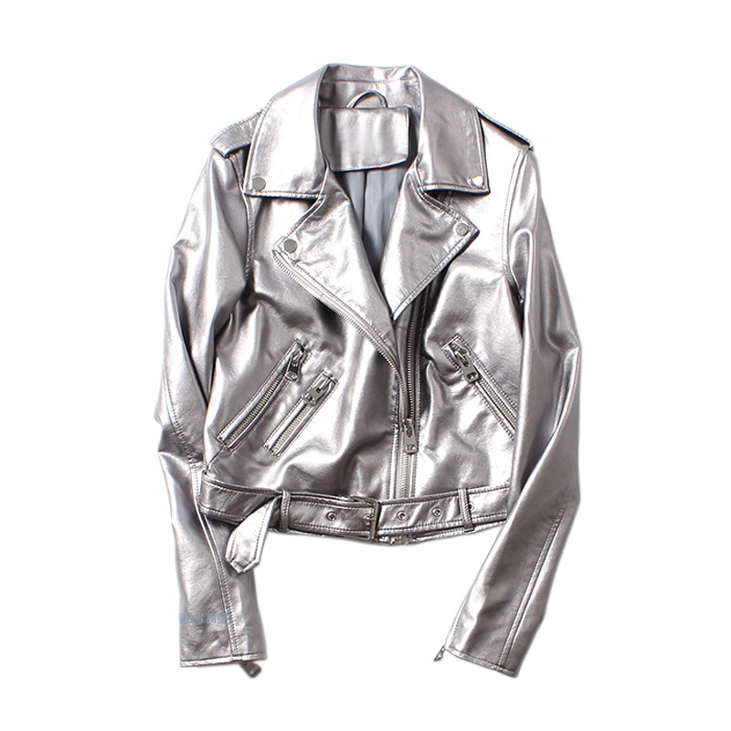 2019 Spring Silver Leather Jacket Women Washed PU Leather Rivets With Belt Bomber Jacket Motorcycle Biker