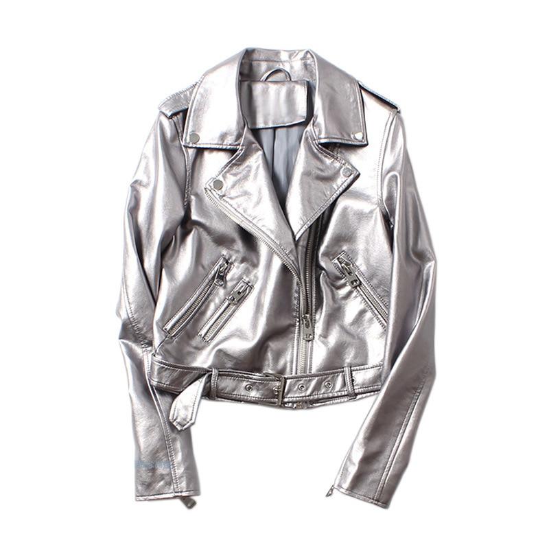 Chaqueta de cuero de plata de primavera 2019 remaches de cuero de PU lavados con cinturón chaqueta de bombardero chaqueta de motociclista AS1903-in Cuero y ante from Ropa de mujer on AliExpress - 11.11_Double 11_Singles' Day 1