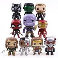 Marvel DC Toys Thanos Black Panther Ant Man Wonder Woman Iron Spider Aquaman PVC Action Figures Big Head Dolls 10pcs/set