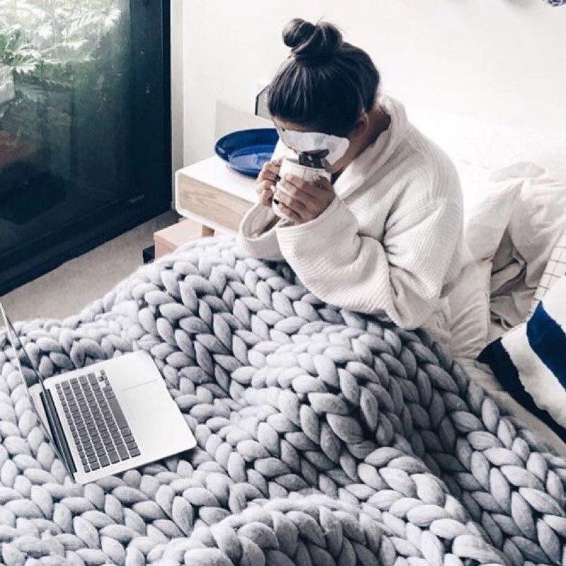 adult-merino-wool-chunky-giant-large-big-knit-blanket-soft-warm-Yarn-knitted-crochet-Handmade-bed
