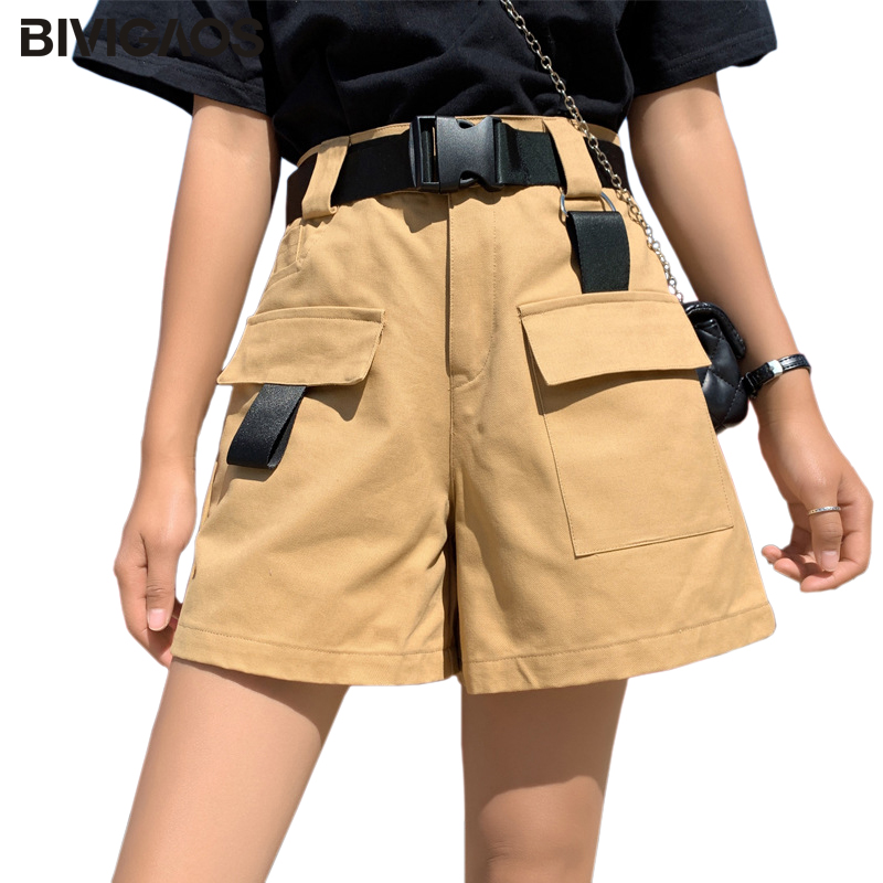 BIVIGAOS Summer New Belt Cargo   Shorts   Ribbon Pocket Cotton   Short   Women Harajuku Loose Straight Wide Leg Casual High Waist   Shorts