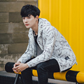 Fashion 2017 Spring jacket hooded Men's windbreaker men Asian size Brand black zippers coat off white 188